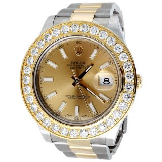 Herren Diamant 2 Tone Rolex Datejust 18k Gold / Edelstahl 5.  26ct 44mm Uhren Bild