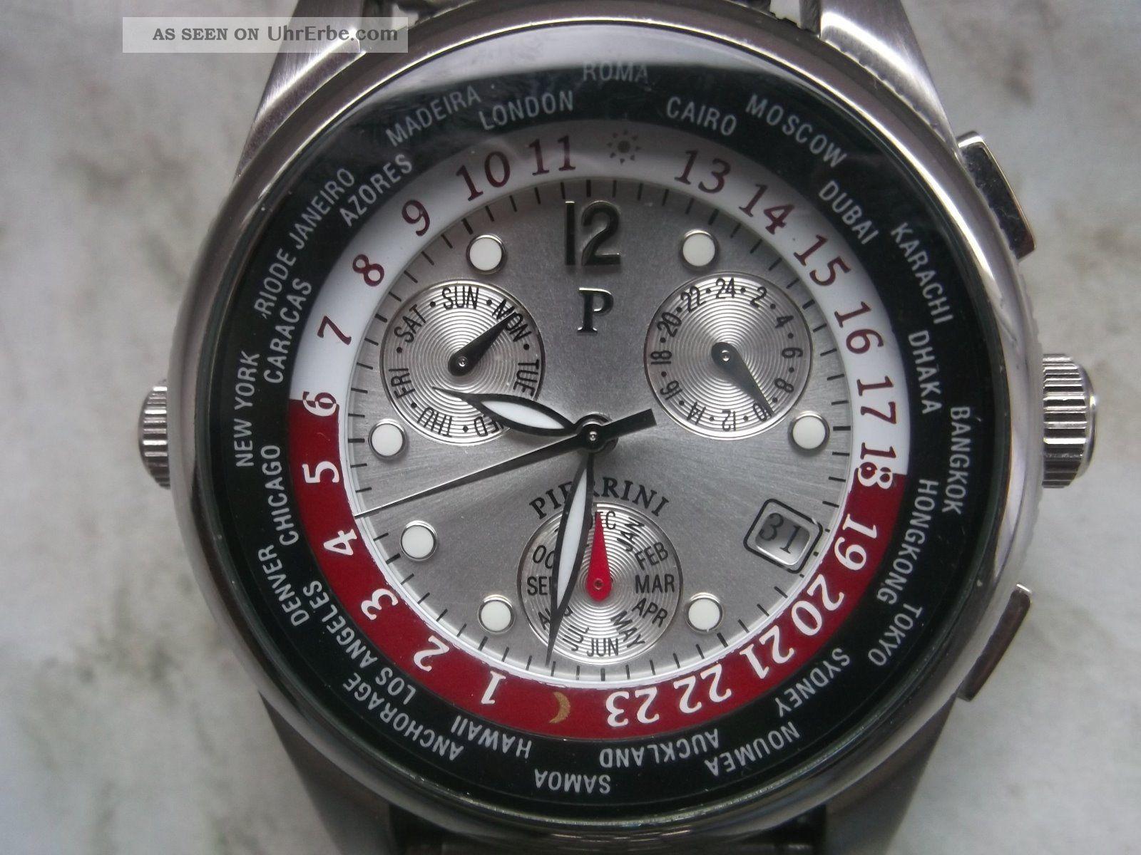 Herren Automatikuhr Pierrini Mit Glasboden Und Drehbarem Innenring Armbanduhren Bild
