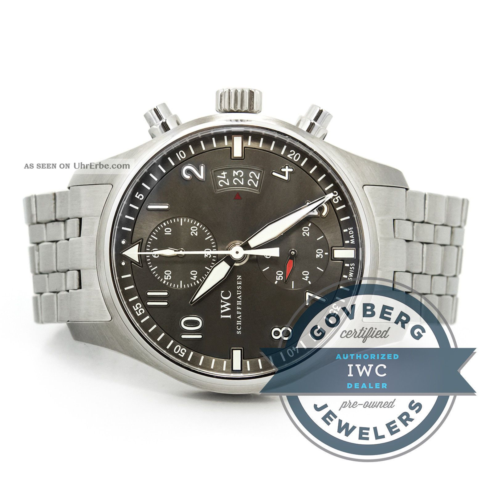 Iwc Fliege Spitfire Chronograph Stahl Automatisch Ardoise Zifferblatt Uhr Armbanduhren Bild