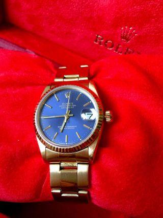 Rolex Datejust Vollgold 18k Gelbgold Mit Oysterband Ref 68278 Mit Box & Papiere Bild