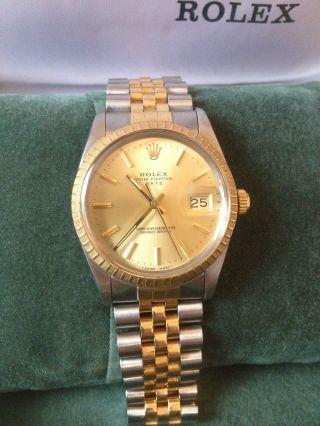 Rolex Oyster Perpetual Date 15053 Automatik Stah / Gold 750 Jubilee Arm Bild