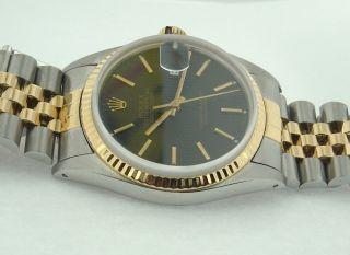 Rolex Datejust Datum Nur Oyester Schwarzen Stock Zifferblatt Uhr Bild