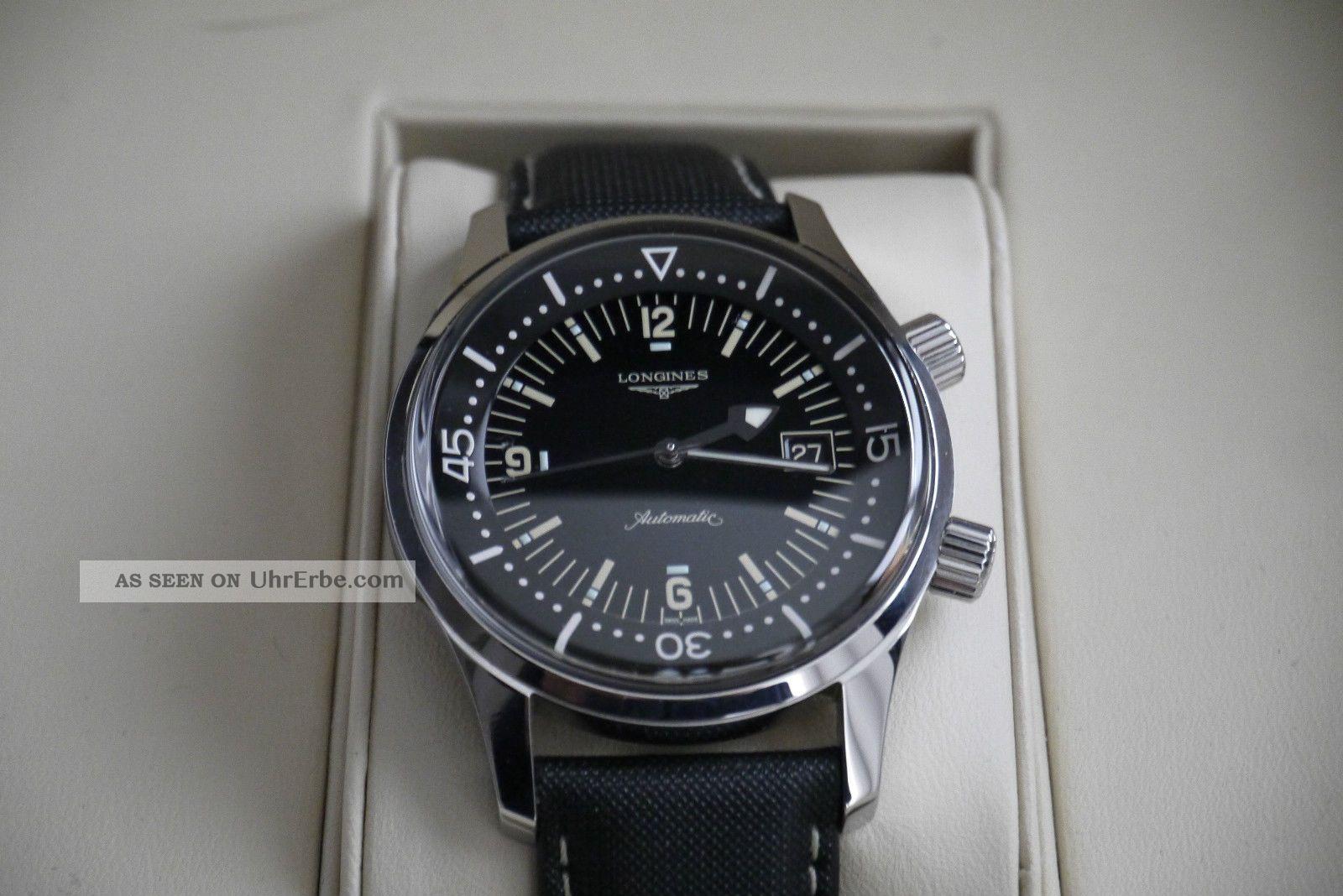Longines Legend Diver Watch Mit Datum,  Automatik,  Box,  Pap. Armbanduhren Bild