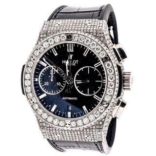 Marke Herren Neue Hublot Big Bang 44mm Leder - Band - Diamant Uhr 10,  50 Ct Bild
