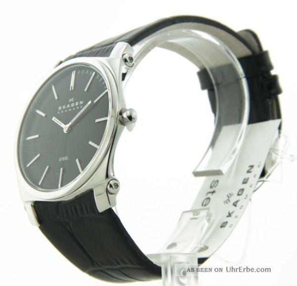 Heren Armbanduhr Skagen Leger Leder Band Ss Slim 859lslb Armbanduhren Bild