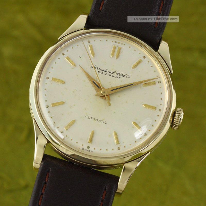 Iwc Schaffhausen 14k (0,  585) Gelb Gold Portofino Automatik Vintage Um 1953 Armbanduhren Bild