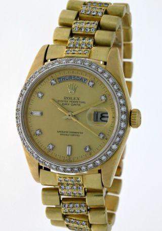 Rolex Oyster Perpetual Day - Date 18048 President 18kt.  Gold Mit Diamanten - Box Bild