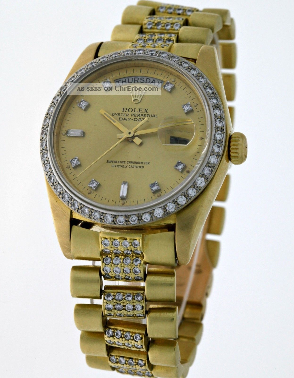 rolex oyster perpetual day date 18048 president 18kt gold mit diamanten box. Black Bedroom Furniture Sets. Home Design Ideas