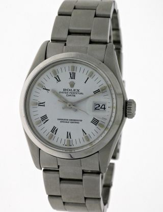 Vintage 1973 Rolex Oyster Perpetual Date 1500 Edelstahl White Roman Dial - Box Bild