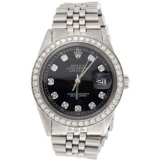 Herren Pre - Owned Rolex Edelstahl Mit Datumsanzeige Nur 3 Ct Diamant Schwarz DfÜ Bild