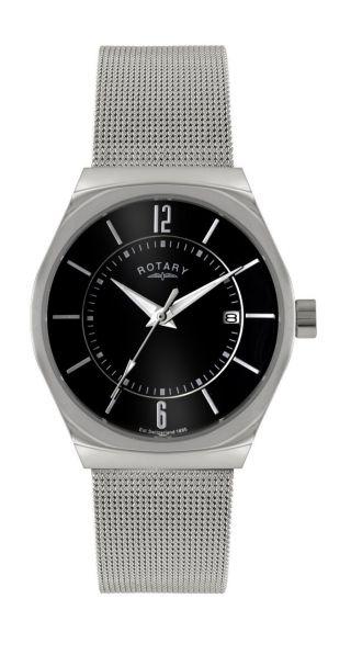 Rotary Herren Quarz Weiß Armbanduhr Edelstahl Mit Schwarzem Zifferblatt Gb00033 Bild