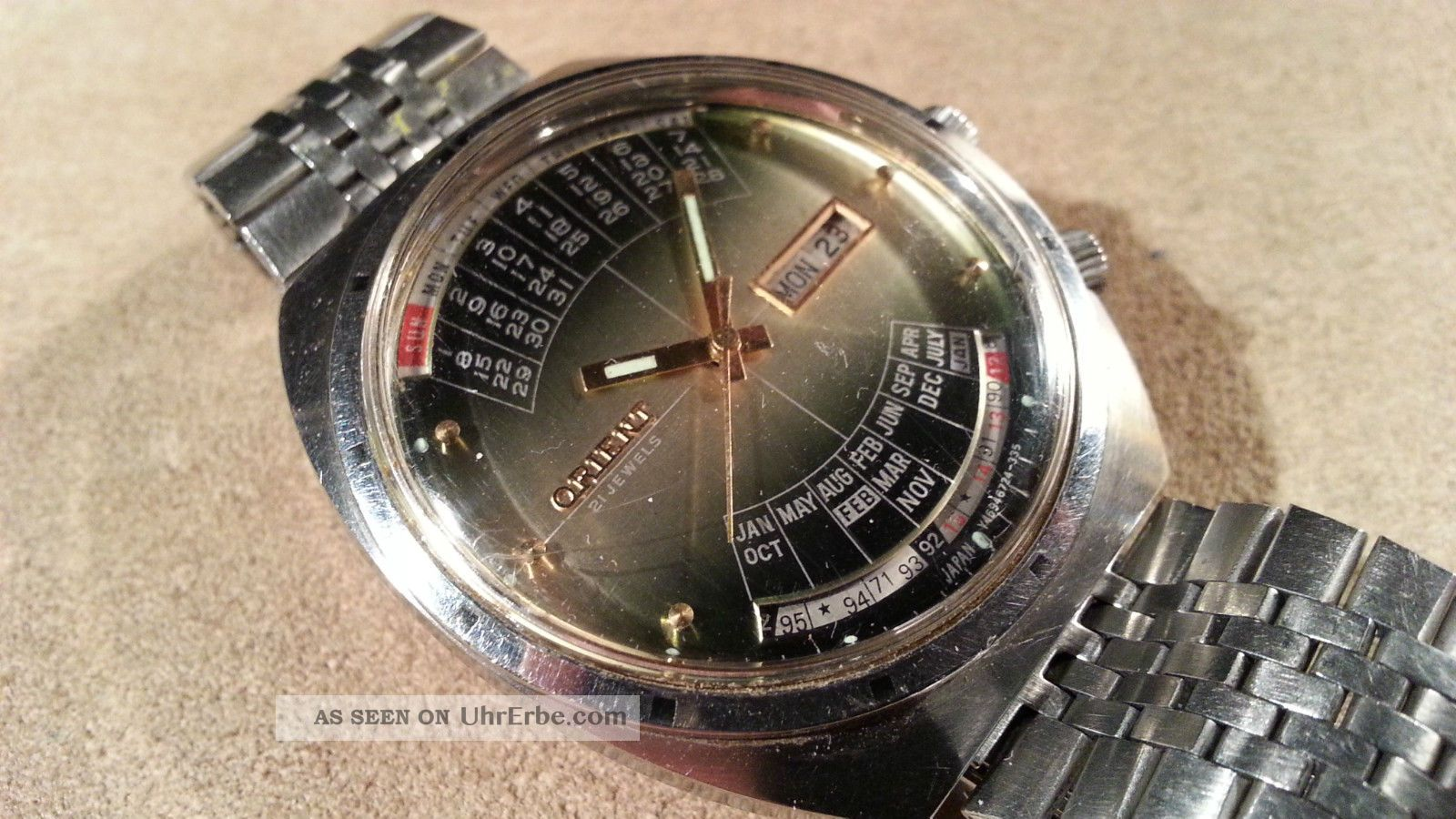 Vintage Orient College Multi - Year Calendar Automatic 21j 46941 Made In Japan Armbanduhren Bild