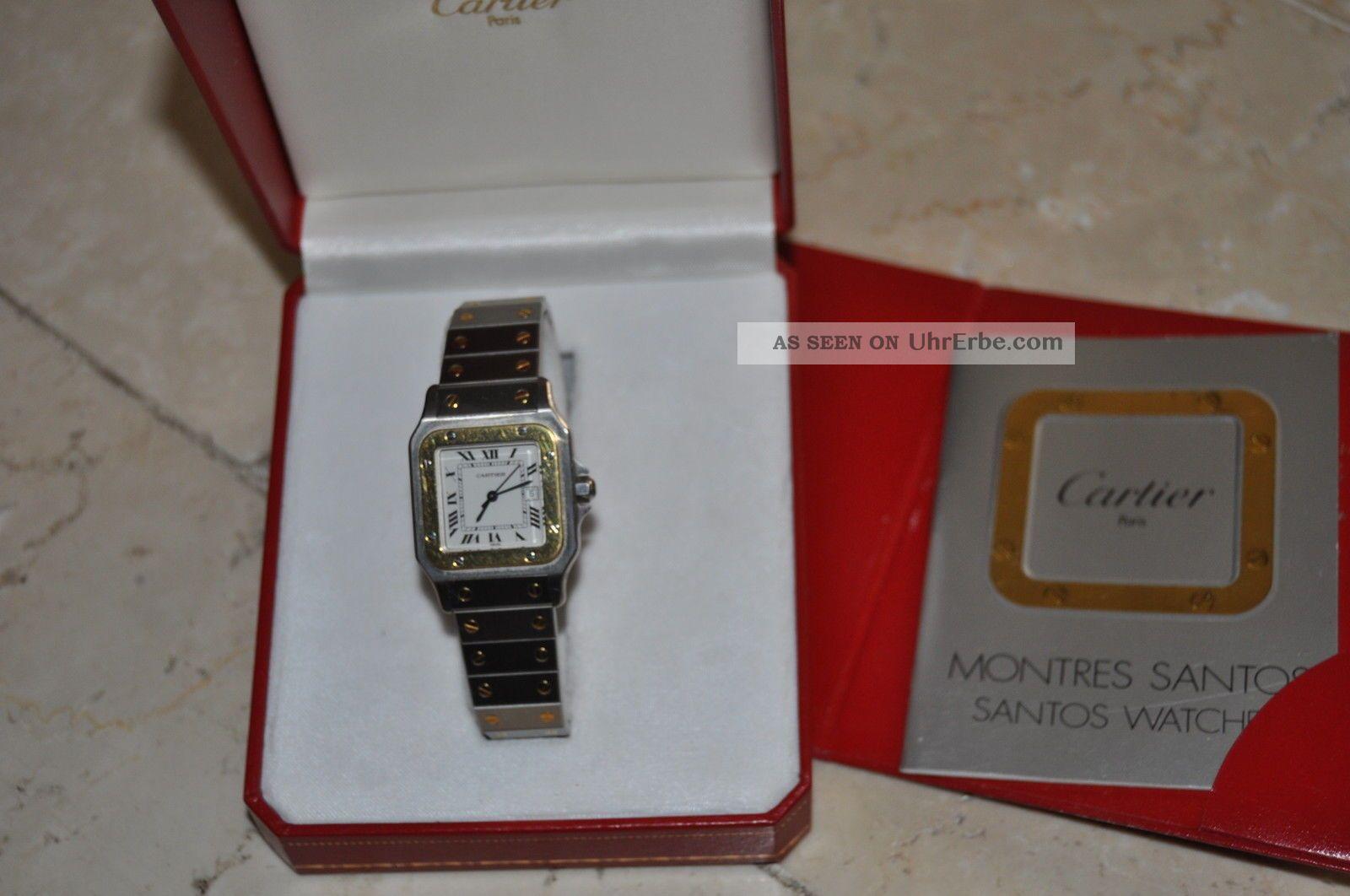 Cartier Santos Automatic RÖmisches Zifferblatt Ungetragen Mit Box & Pap: Armbanduhren Bild
