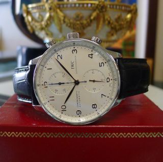 Herren Iwc Portugiesisch Automatisch Chronograph Edelsahl Anzug Uhr Bild