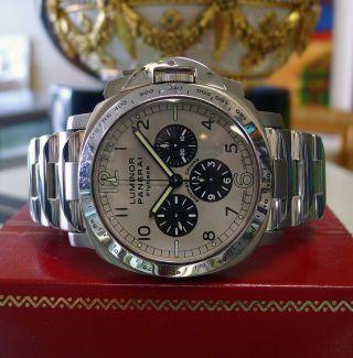 Herren Panerai Luminor Chronograph Flyback Pam 60 Limitierte Ausgabe Titan Uhr Bild