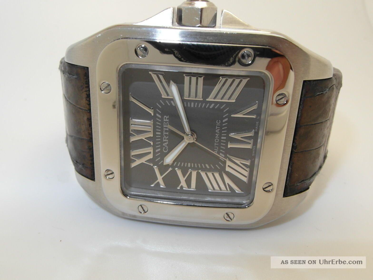 Cartier Santos 100 Automatik Uhr,  Edelstahl - Leder,  Grosses Modell Ref : W20134x Armbanduhren Bild