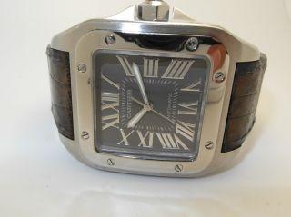 Cartier Santos 100 Automatik Uhr,  Edelstahl - Leder,  Grosses Modell Ref : W20134x Bild