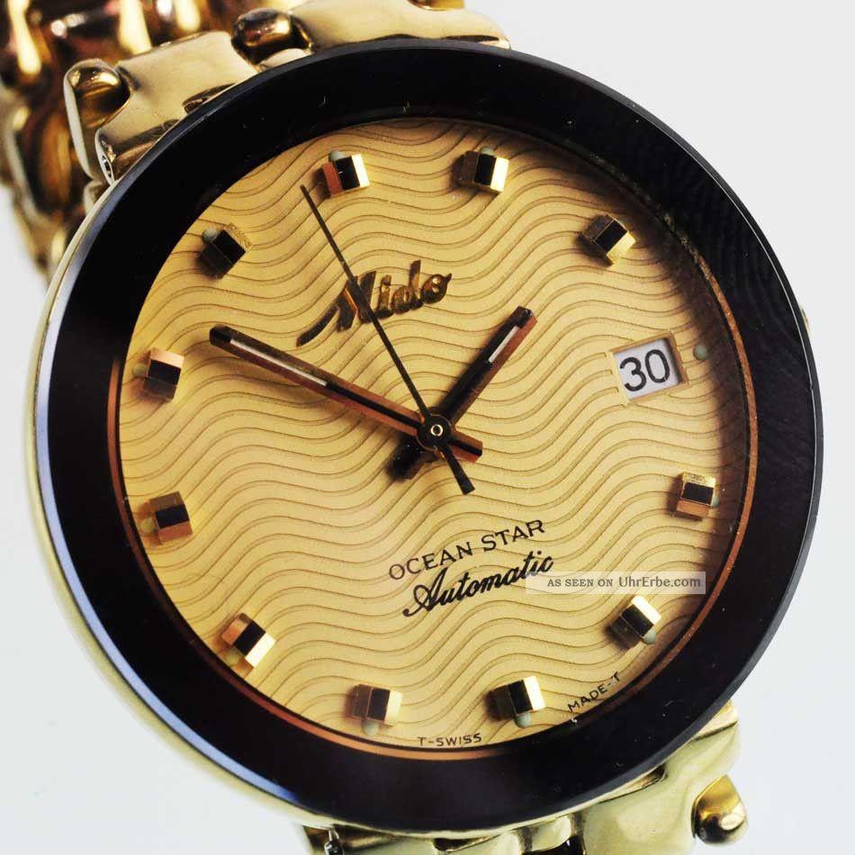 Mido Ocean Star Automatik Watch Herren Armbanduhr Stahl Vergoldet Ref.  629 - 8710 Armbanduhren Bild