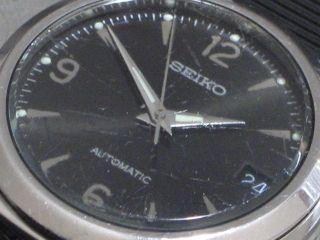Seiko 5 Automatic Herren - Armbanduhr Datum Schwarzes Blatt Stahl 7002 - 8000 A2 Gut Bild