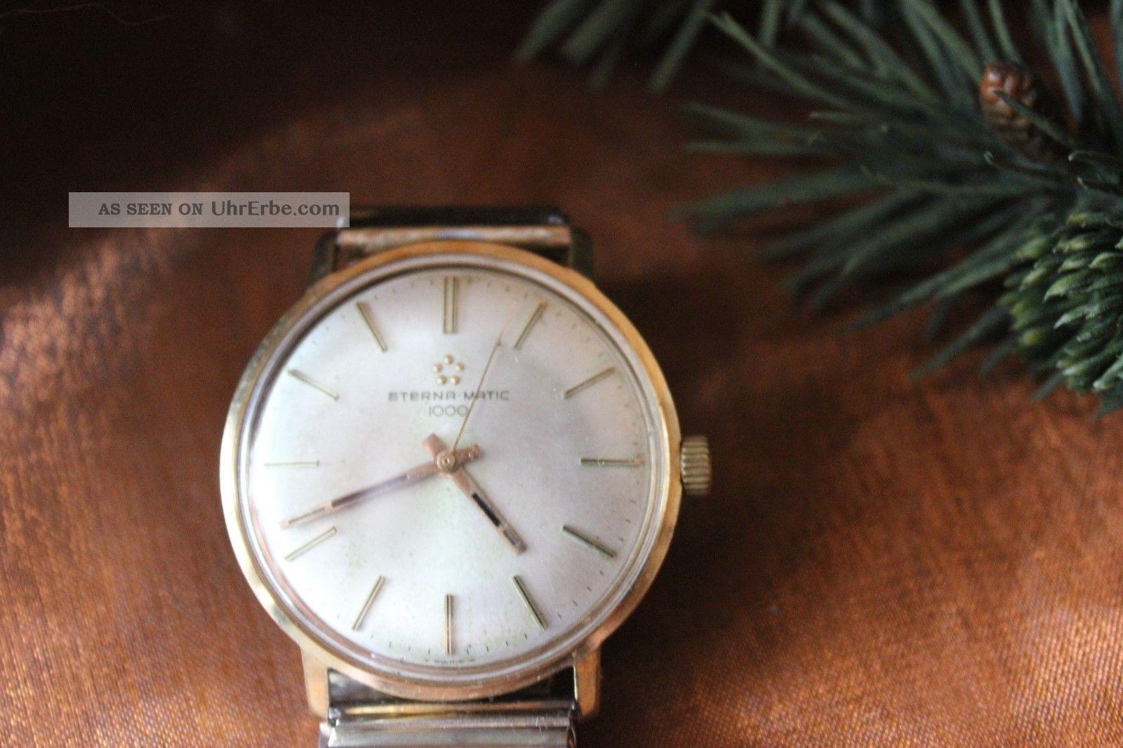 Herren Luxus - Uhr Eterna Matic 1000 Armbanduhr 585/gold Armbanduhren Bild