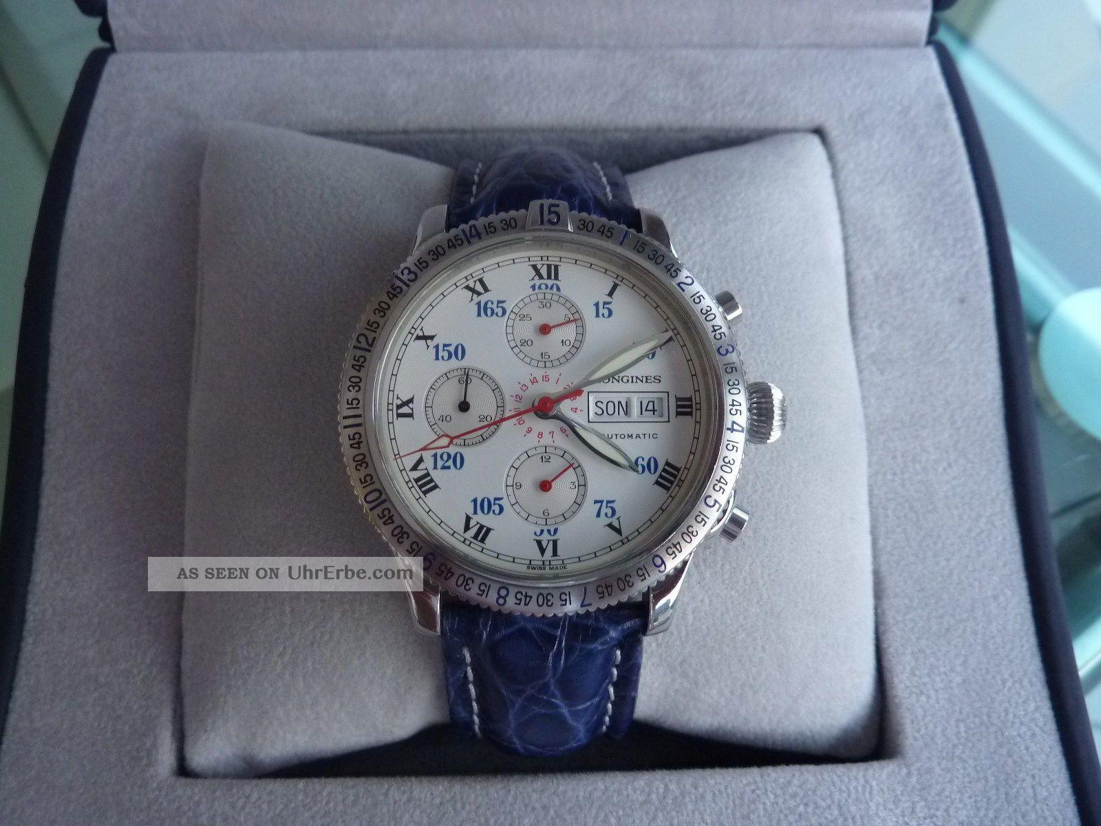 Longines Lindbergh Chrono Stundenwinkel,  Automatik,  Top Sammlerzustand Armbanduhren Bild