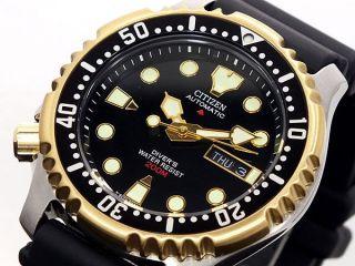 Nagelneu Citizen Ny0045 - 05eb Gold - Black Automatik Diver ' S Armbanduhr 200m Top Bild