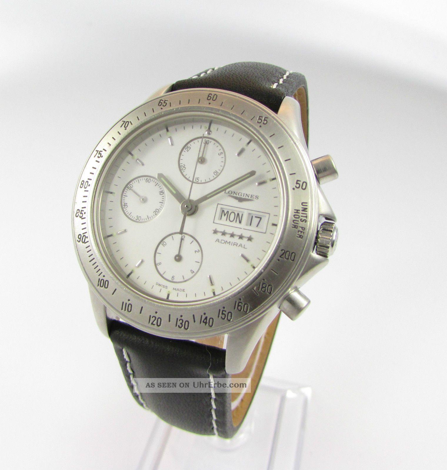 Longines Admiral Day/ Date Automatik Chronograph - Valjoux 7750 - Topzustand Armbanduhren Bild