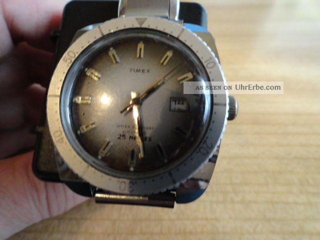 Timex Automatik Herrenuhr Mit Altem Edelstahl Gliederband Expandro Armbanduhren Bild