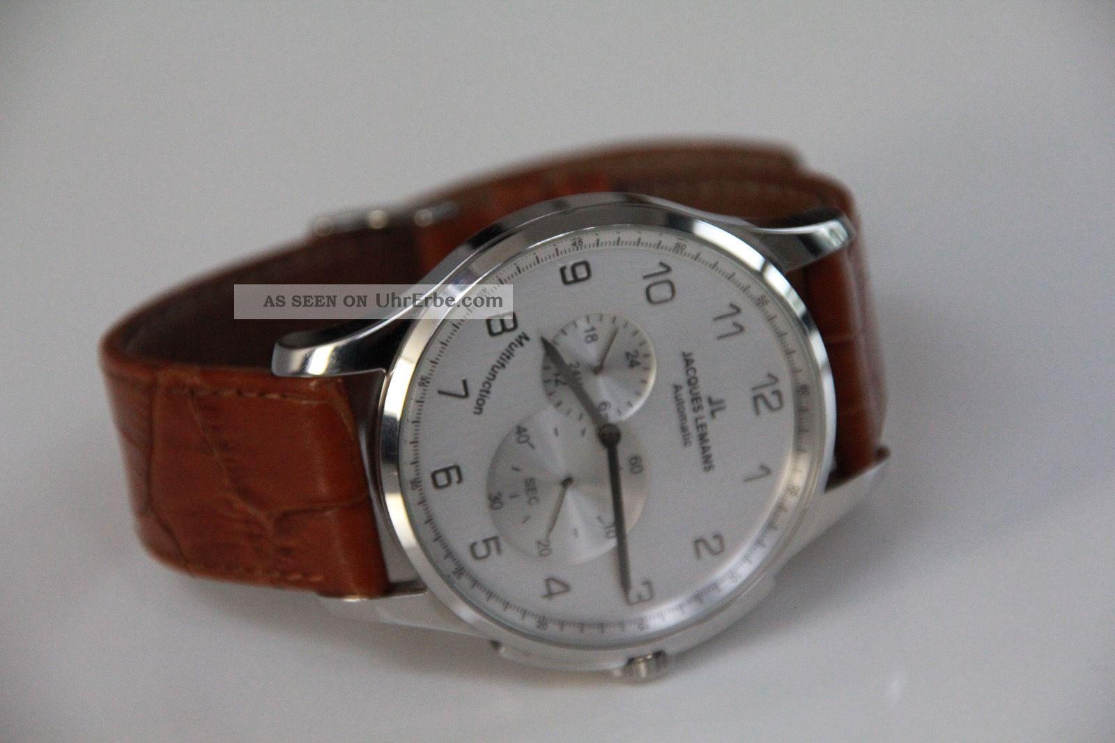 Jacques Lemans Automatik Herren Armbanduhr 1 - 1525 Silbernes Zifferblatt Armbanduhren Bild