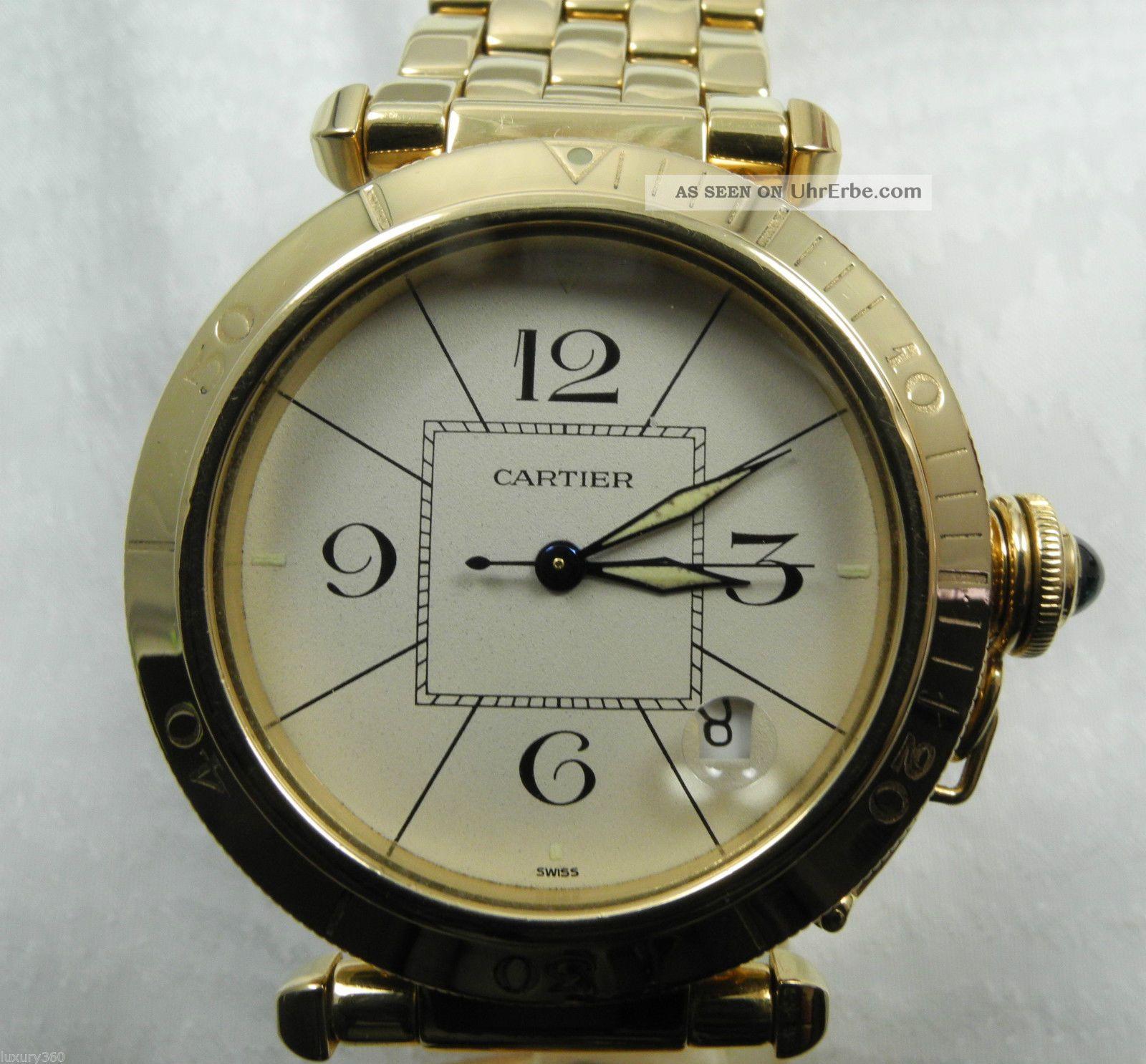 Cartier Pasha 750er Gelb Gold Automatic Uhr Armbanduhr Armbanduhren Bild