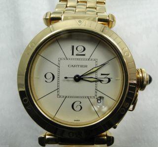 Cartier Pasha 750er Gelb Gold Automatic Uhr Armbanduhr Bild
