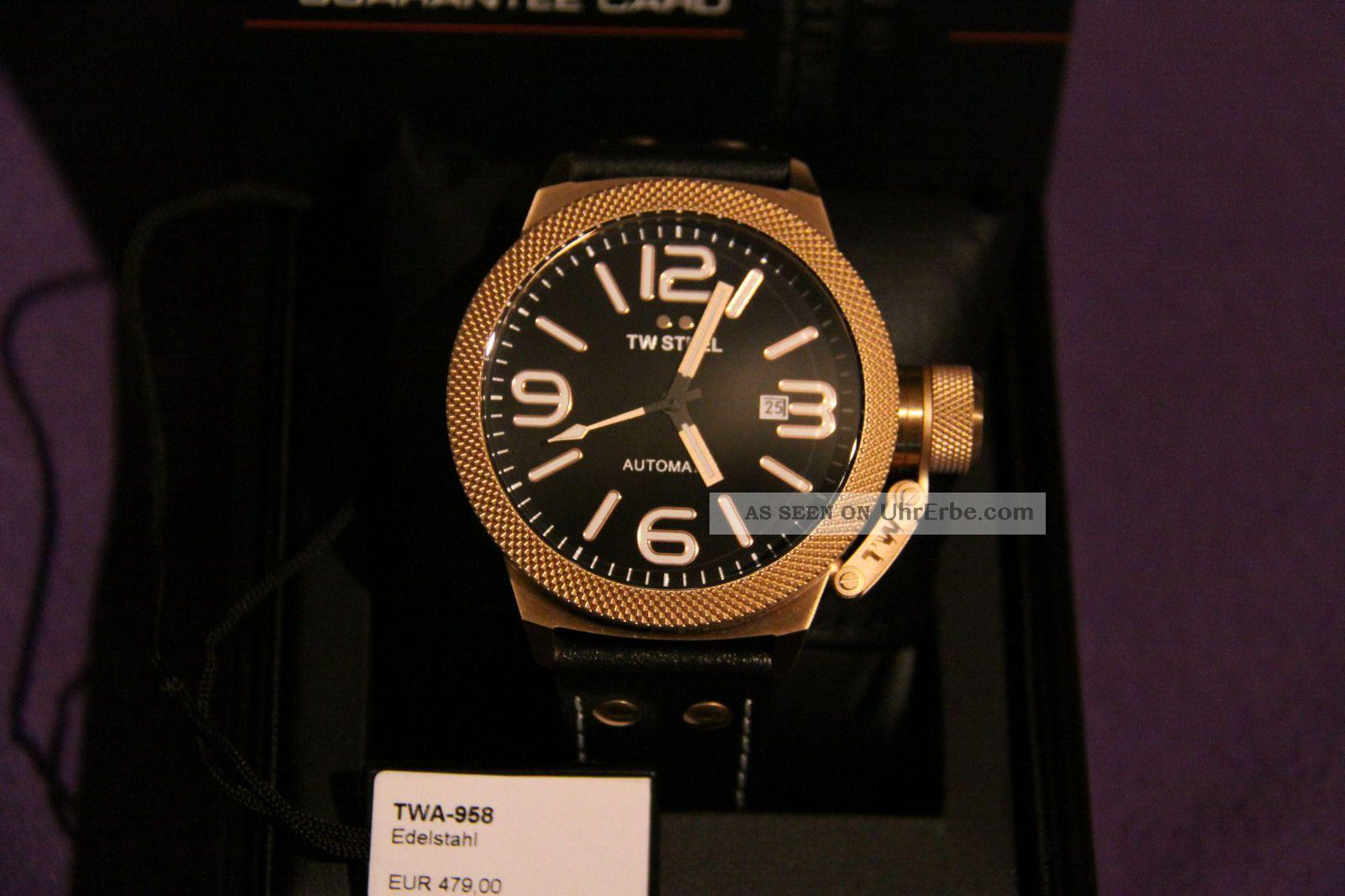 Tw Steel 958 Automatic Miyota Werk 45mm Glasboden Neuwertig Armbanduhren Bild
