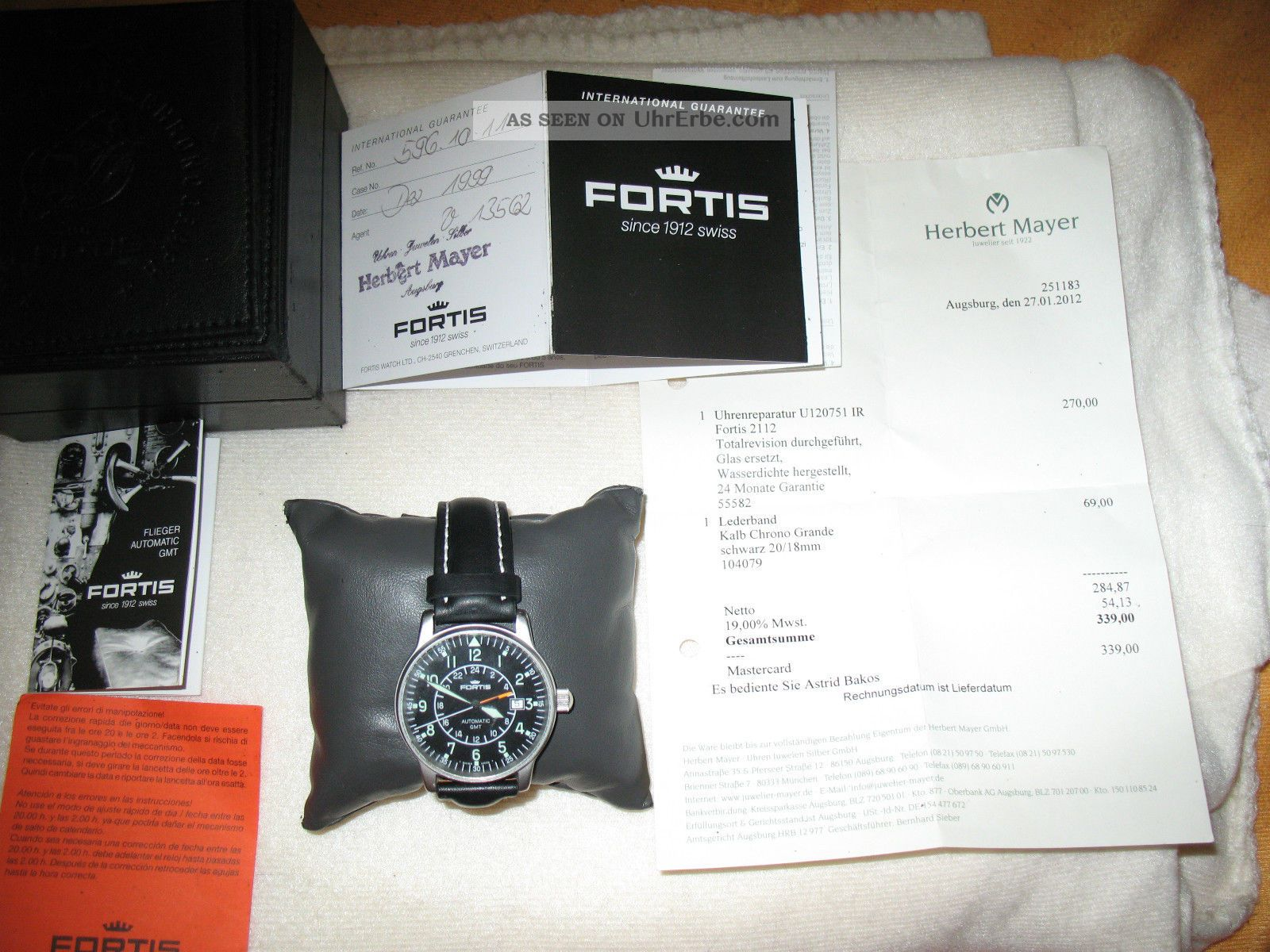 Fortis Flieger Automatic Gmt 596.  1.  11 - Wie - Totalrevision - Inkl.  Zubehör Armbanduhren Bild