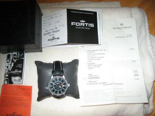 Fortis Flieger Automatic Gmt 596.  1.  11 - Wie - Totalrevision - Inkl.  Zubehör Bild