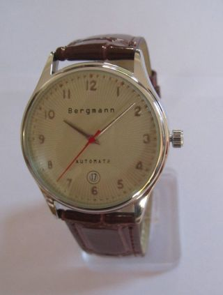 Bergmann Automat 2 /herren Armbanduhr/lederband Braun / Selten Rar/neu Und Ovp Bild
