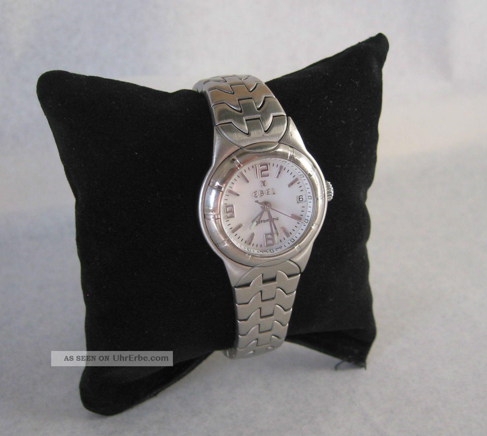 Ebel Automatic Typ E Uhr Damen 28 Mm Armbanduhr Zifferblatt Weiß Armbanduhren Bild