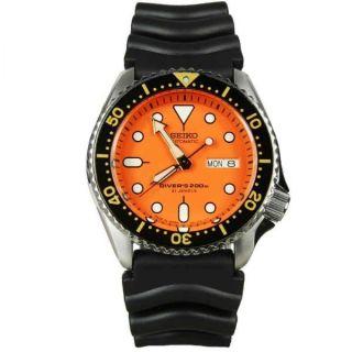 Nagelneu Seiko Skx011j1 Scuba Orange Kautschuk Armbanduhr Diver ' S 200 Automatik Bild