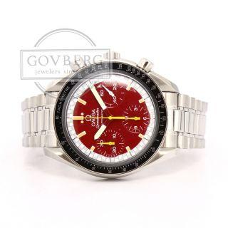 Omega Speedmaster Chrono Stahl Automatisch Uhr Rotes Zifferblatt Armband 3810.  62 Bild
