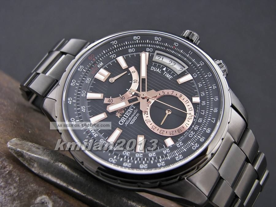 Orient Uhr Automatik Dual Time Herrenuhr Gangreserve,  Sapphireglas Fdh01002b0 Armbanduhren Bild