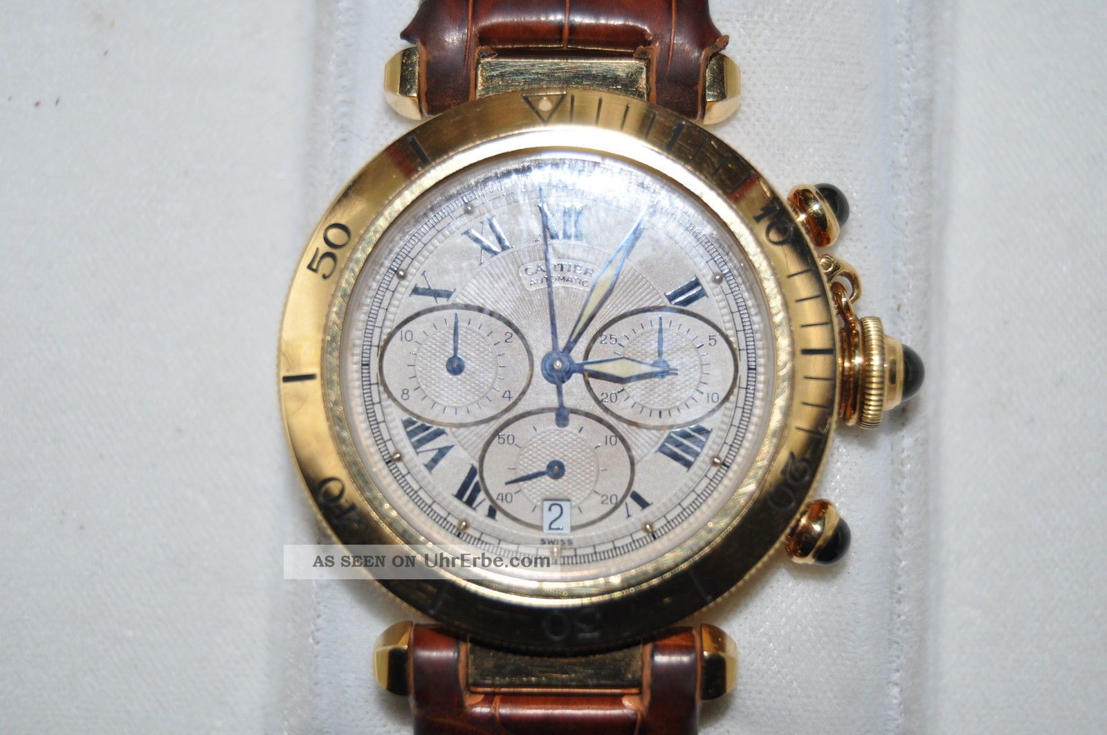 Cartier Pasha Chrono 18 Carat Gold Mit Box Getragen Armbanduhren Bild