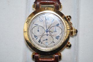 Cartier Pasha Chrono 18 Carat Gold Mit Box Getragen Bild