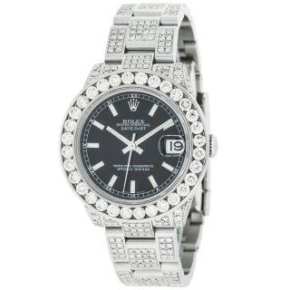 Armbanduhr Rolex Datejust Mittelgroß 178240 8.  50kt Diamanten Edelstahl Bild