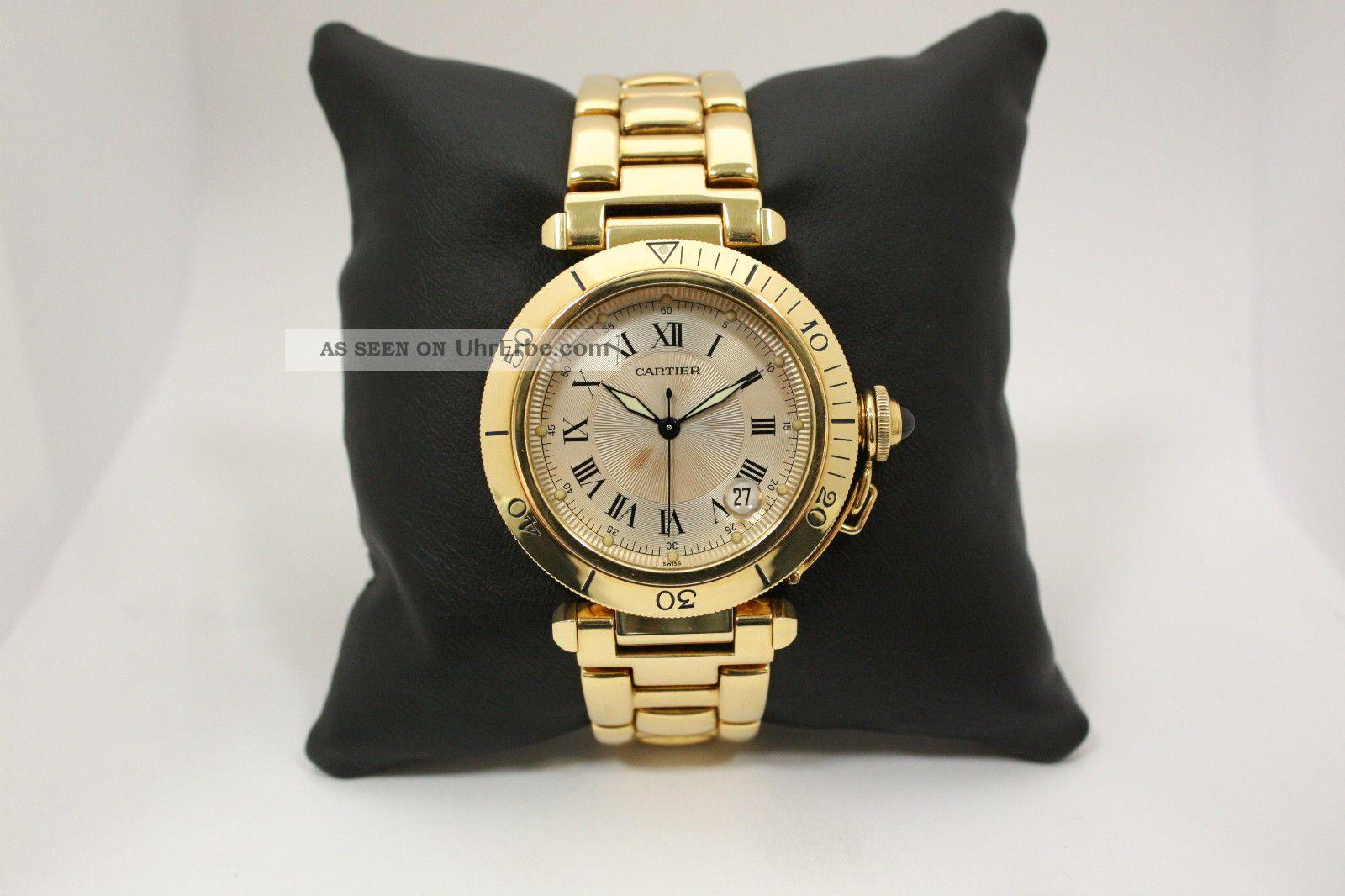 Herrenarmbanduhr Cartier Pasha 18k / 750er Gelbgold Automatic M.  Box,  Papieren Armbanduhren Bild