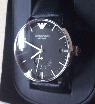 Emporio Armani Ar4656 Leder Schwarz Uhr Ar 4656 Automatik Herrenuhr Automatikuhr Bild