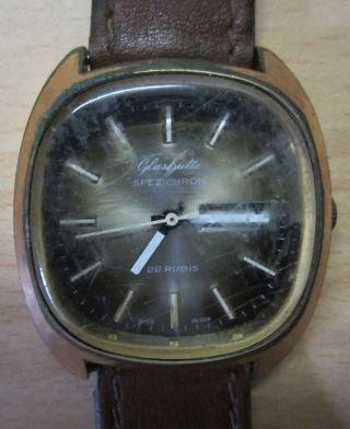 GlashÜtte Herren Armbanduhr - Made Gdr - Goldplaque Mit 22 Rubis Bild