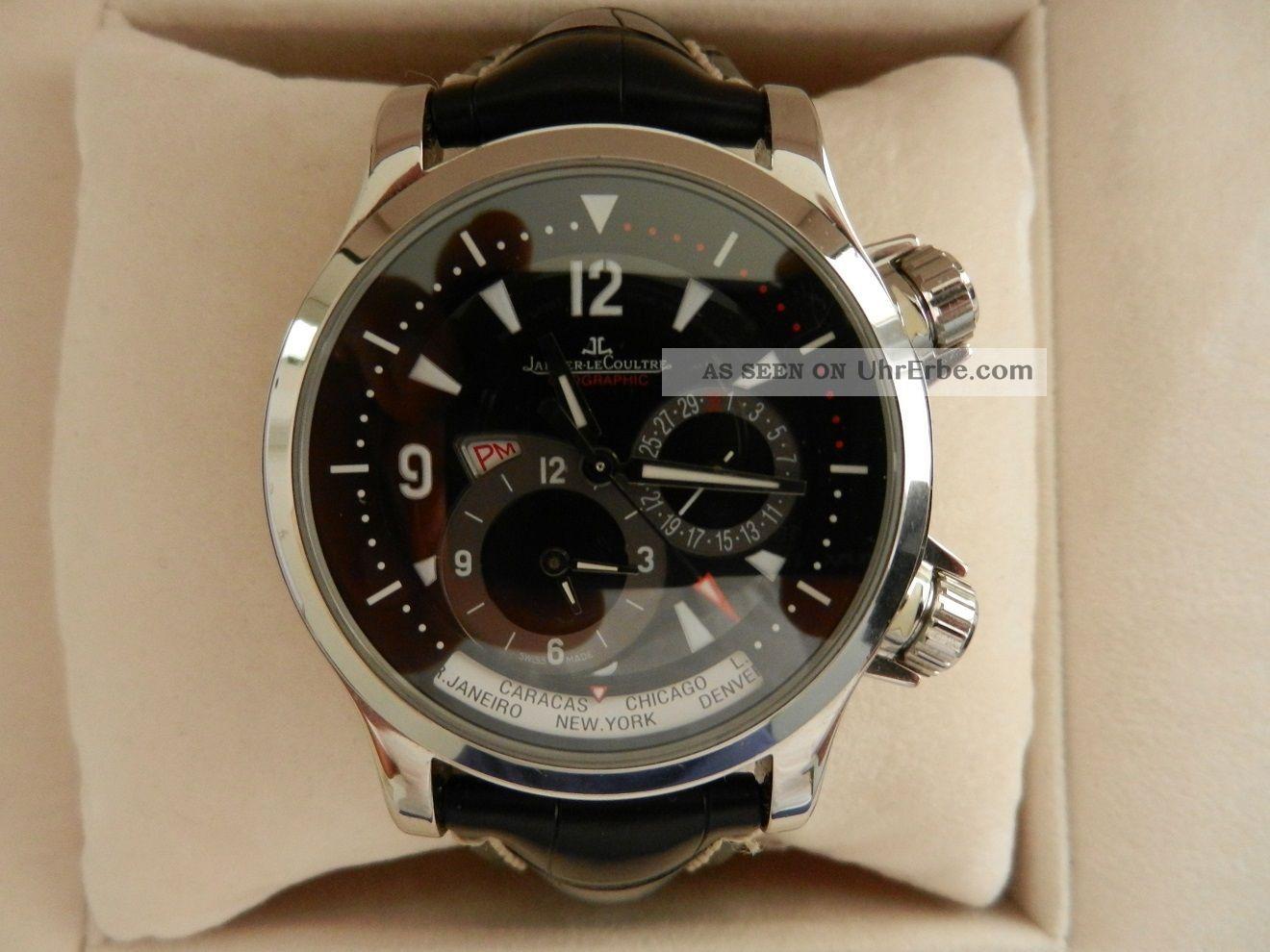 Jaeger Lecoultre Master Compressor Geographic Stahl Automatik Box,  Papiere 2004 Armbanduhren Bild