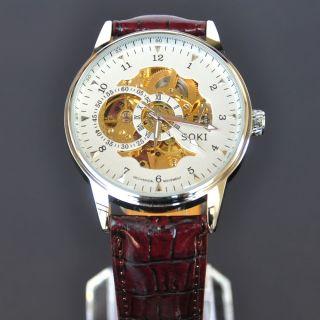 Skelettuhr Weiss Analog Mechanische Herren Braun Leder Armband Automatik Uhr Bild