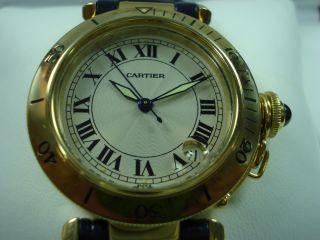 Cartier Pasha Armbanduhr In 18 Karat Gold Mit Cartier Uhrenbox Bild