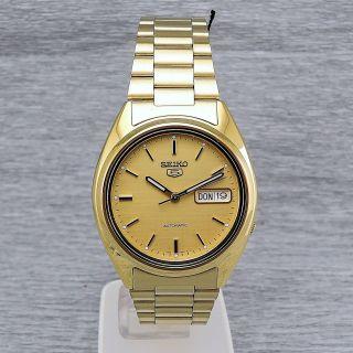 Herrenuhr Seiko 5 Snxl72k Automatik Herrenarmbanduhr Automatic Vergoldet Bild