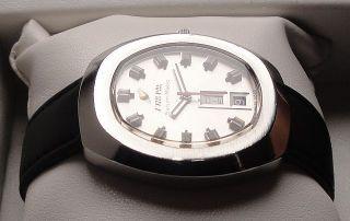 Vintage Armbanduhr Automatic Enicar Saturn - Matic – Day Date In Edelstahl Bild